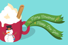 Vector Illustration Christmas Eggnog Latte With Whipped Cream, Cinnamon Stick In Red Mug With Snowman And Green Merry Christmas And Happy New Year Ribbon On Mug Handle On Light Blue Background.