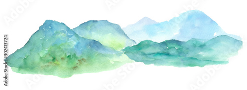 Panorama mountain landscape watercolor painting on isolated white background illustration art element for backdrop or wallpaper or your design