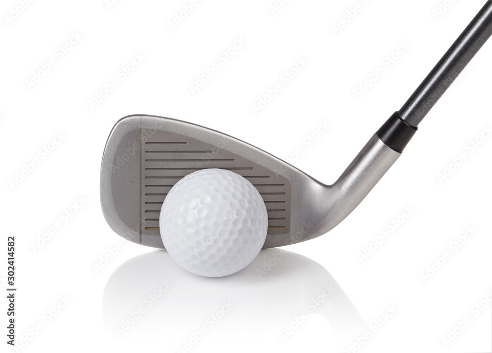 Fototapety, obrazy: golf ball and club on white background