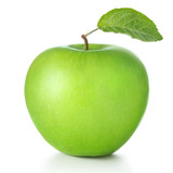 Fototapeta Łazienka - green apple isolated on white background