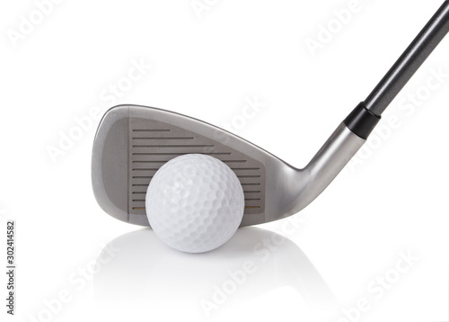 fototapeta na drzwi i meble golf ball and club on white background