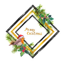 Robin Bird In Red Santa Hat, Christmas Tree Branches With Cones, Holly Plant. Watercolor Design With Black, Gold Ink Stripes And Text Merry Christmas For Greeting Card