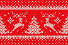 Traditional Winter Holiday Knitting Pattern With Reindeers And Christmas Trees. Scheme For Wool Knit Christmas Sweater Design Or Cross Stitch Embroidery. Vector Seamless Background