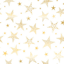 Beautiful Gold Snowflakes Seamless Pattern - Hand Drawn, Great For Christmas Or New Years Themed Fabrics, Banners, Wrapping Paper, Wallpaper Or Cards - Vector Surface Design