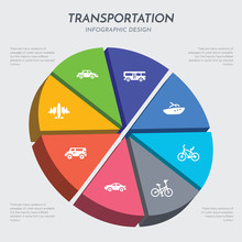 Transportation Concept 3d Chart Infographics Design Included Aeroplane, Airport Shuttle, Automobile, Bicycle, Bike, Boat, Bus, Cab Icons