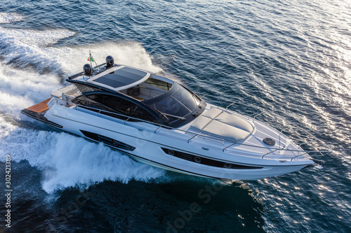 luxury motor yacht in navigation, aerial view Fototapeta