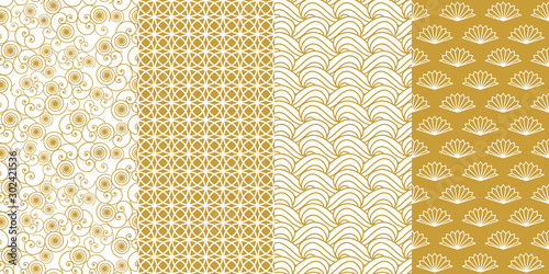 Tuinposter Kunstmatig Collection of seamless geometric designs.