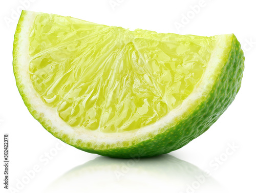 Fotografija Single slice of lime citrus fruit isolated on white background with clipping path