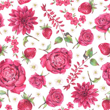 Seamless Floral Pattern Of Red Flowers  And Berries. Hand Painted Watercolor Illustration.