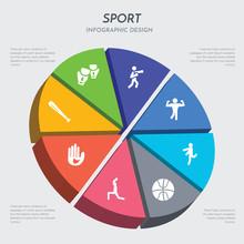 Sport Concept 3d Chart Infographics Design Included Baseball Bat, Baseball Glove, Yoga, Basketball, Baton Twirling, Bodybuilding, Boxing, Boxing Gloves Icons