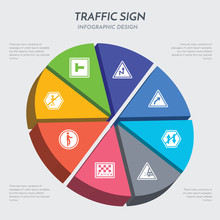 Traffic Sign Concept 3d Chart Infographics Design Included Pedestrian, Police Station, Pothole, Prohibited Way, Right Bend, Right Reverse Bend, Road, Road Work Icons
