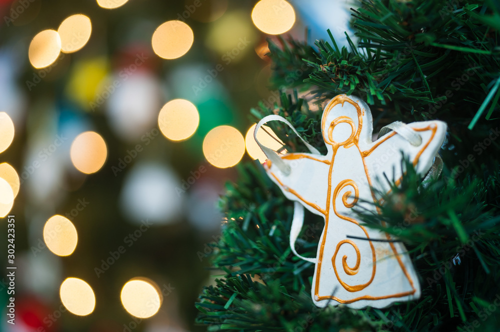 Fototapety, obrazy: Christmas tree angel decoration on christmas tree background
