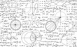 Mathematical vector seamless background with handwritten algebra and geometry formulas on a white paper
