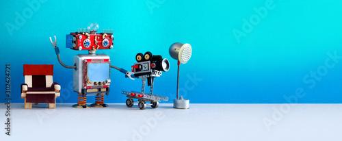 Obraz na plátně Cameraman shoots motion picture television episode or movie