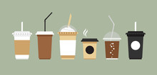 Vector Coffee Cups Set. Disposable Coffee Cup To Go.