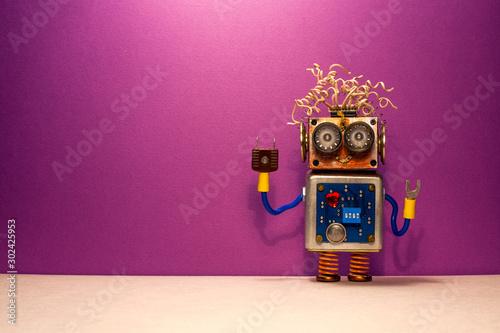 Cuadros en Lienzo Funny steampunk robotic toy on purple background