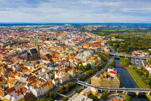 Wallpaper Mural Aerial view of Plzen