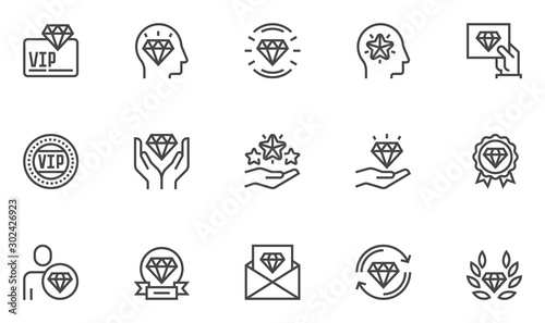 Fotomural VIP vector line icons set