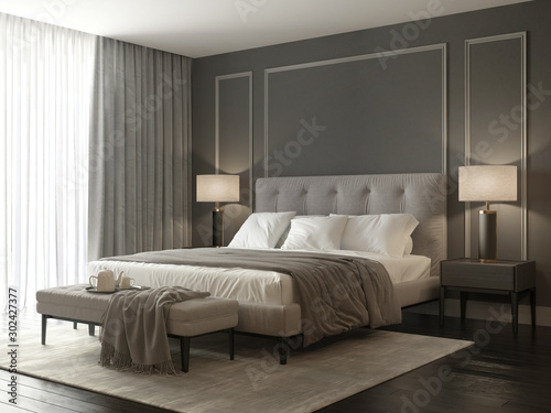 Fotografering Classic grey bedroom interior with grey buttoned bed and luxury lamps and a stoo