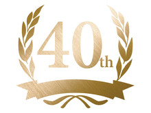 40th Anniversary Logo With Laurel Motif. Gold Metallic Color With Hairline And Metal Texture.