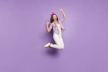 Full Length Body Size View Of Nice Attractive Lovely Charming Pretty Cheerful Cheery Funky Satisfied Girl Jumping Having Fun Rejoicing Isolated On Violet Purple Lilac Pastel Color Background