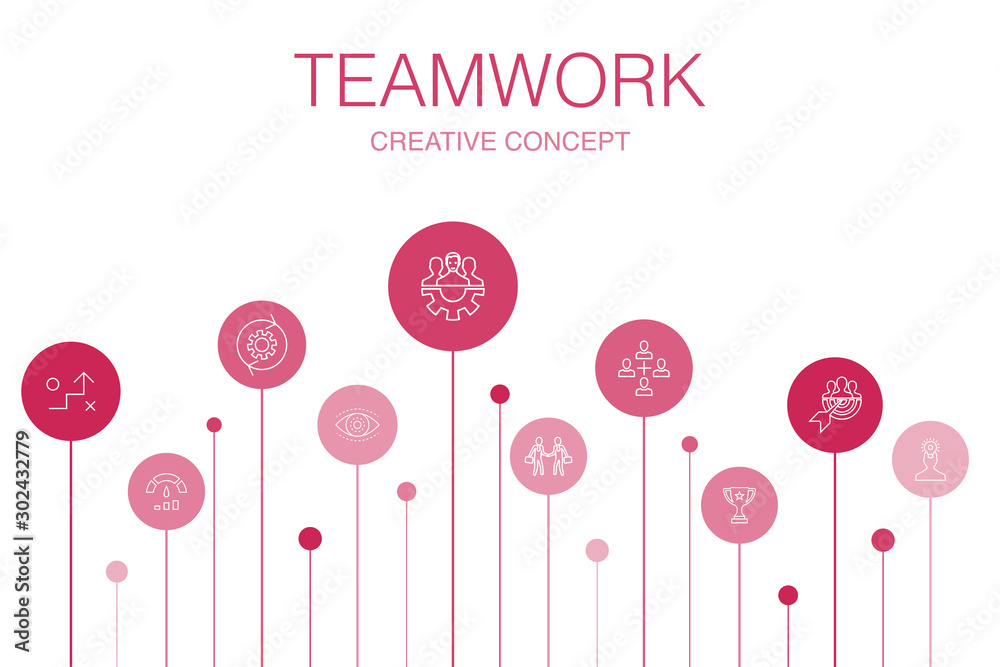 Fototapeta Teamwork Infographic 10 steps template. collaboration, goal, strategy, performance simple icons