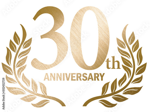 30th anniversary logo with laurel motif Tablou Canvas
