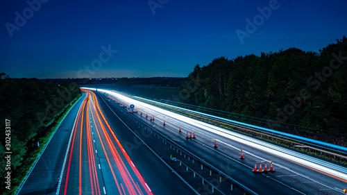 Long exposure of motorway at night