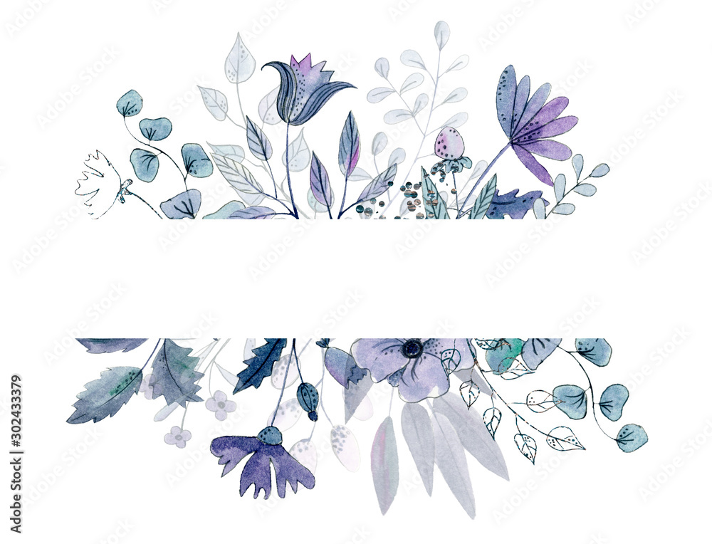 Fototapeta Watercolor floral border with dusty blue floral decor. Hand painted flat flowers isolated on white background. Holiday print. Winter wedding arrangement. Blue decor. Violet frame. Violet flwoers