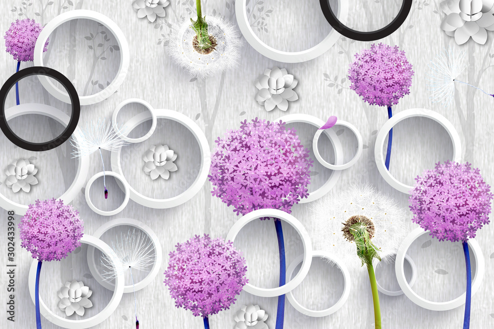 3d mural wallpaper abstract with gray and black circles and purple pink flowers . silhouettes of dandelions pattern on decorative silver background .