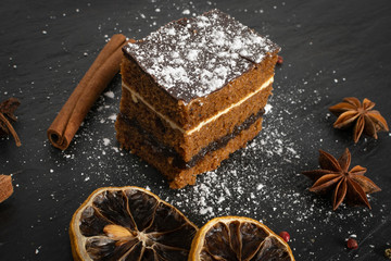 Sponge Cake with Spices and Honey, Piernik, Brown Biscuit