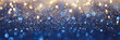 canvas print picture - Vintage lights background. Gold lights and blue glitter. defocused