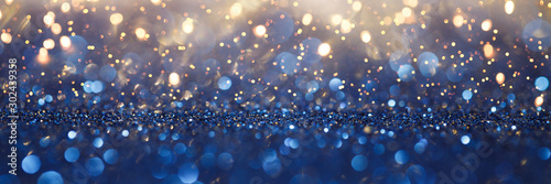 Obraz Vintage lights background. Gold lights and blue glitter. defocused - fototapety do salonu