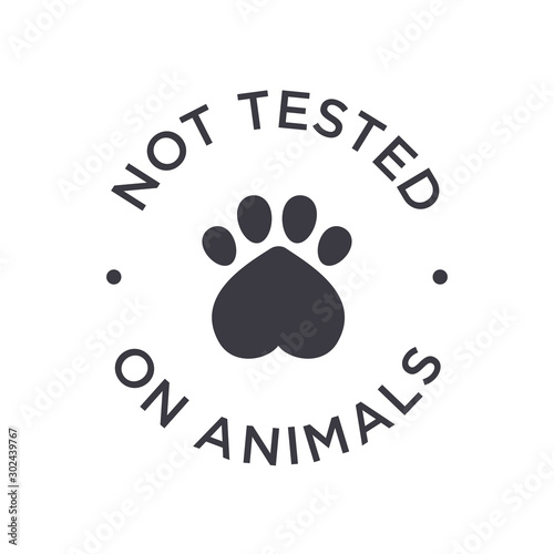 Fotografie, Obraz Not tested on animals icon. Round vector symbol.