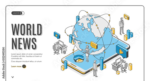Fotomural World news isometric landing page