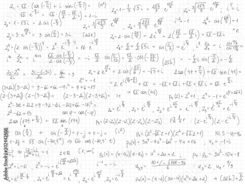 Set of mathematical formulas and solutions to problems and equations Wallpaper Mural