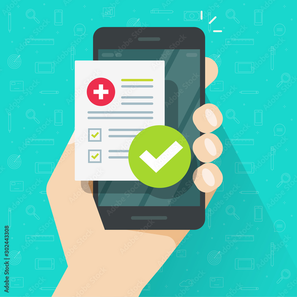 Fototapety, obrazy: Medical prescription online or digital medicine test results with approved check mark form on person hand mobile phone vector illustration flat cartoon modern, cellphone with clinic checklist
