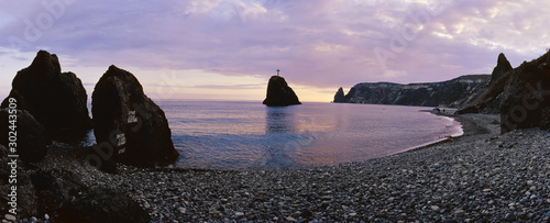 Poster Kust Panoramic view of the Georges rock, cape Fiolent. Sevastopol. Crimea