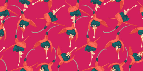 Fuchsia. Seamless floral pattern with tropical flowers on pink background. Te...
