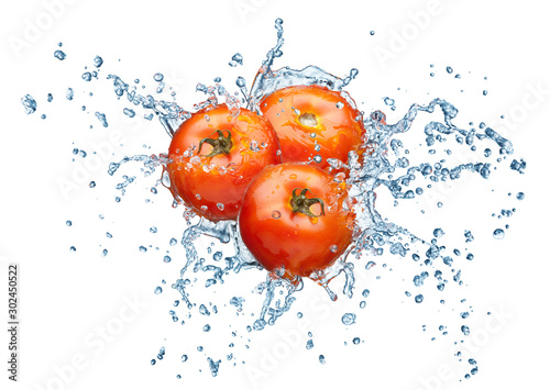 Fototapeta owoce w wodzie   pomidor-w-sprayu-wody