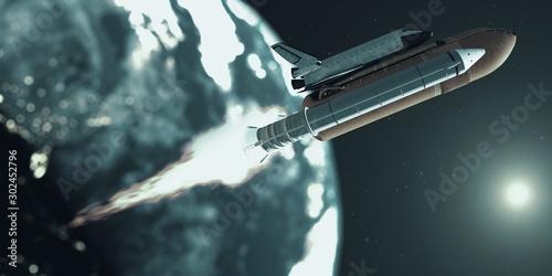 Obraz space shuttle and deep space - fototapety do salonu