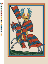 11th Century Knight On His Horse In Arms - Medieval Codex Illustration