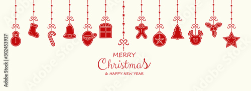 Photographie  Christmas decoration with wishes and hanging hand drawn elements