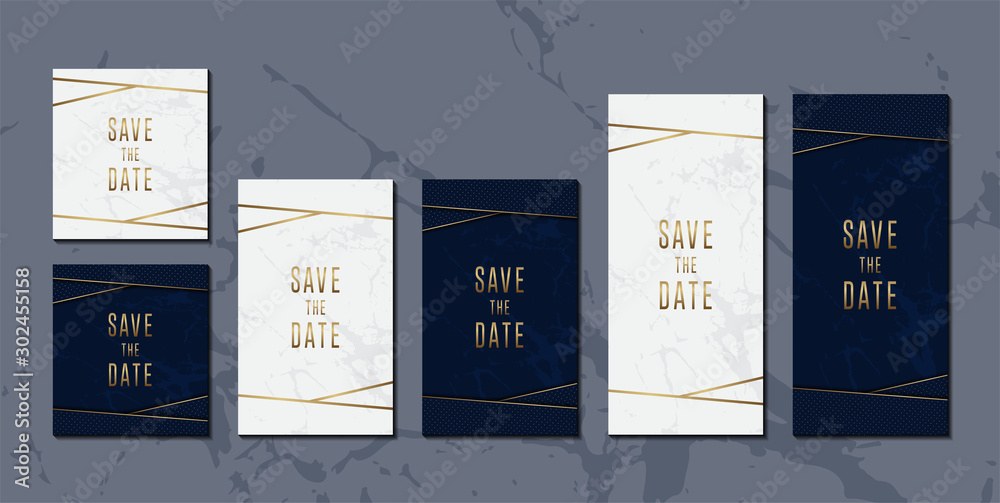 Fototapety, obrazy: Wedding invitation card set of elegant Blue and golden marble texture design template