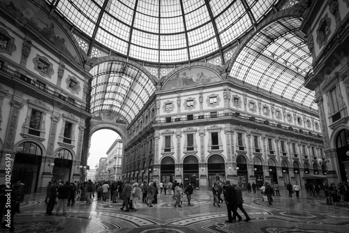 Galleria Vittorio Emanuele Milan Italy - black and white image
