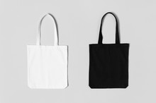 White And Black Tote Bags Mock...