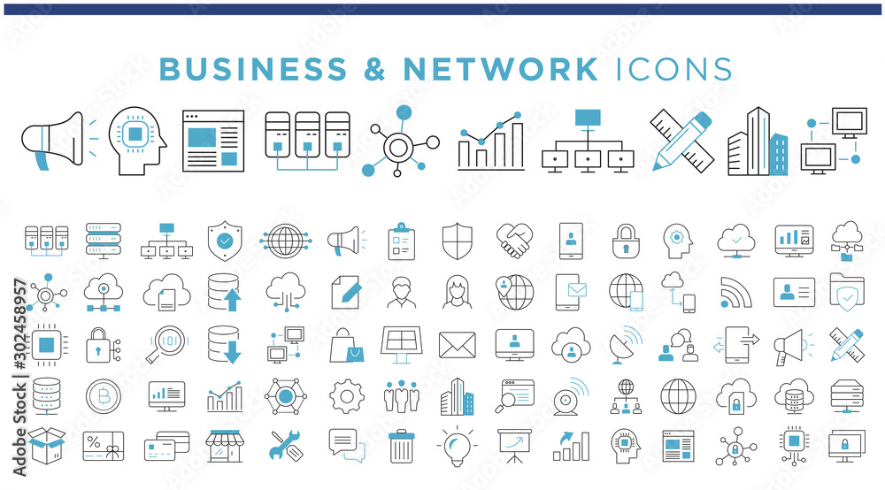 Fototapeta business & network icons