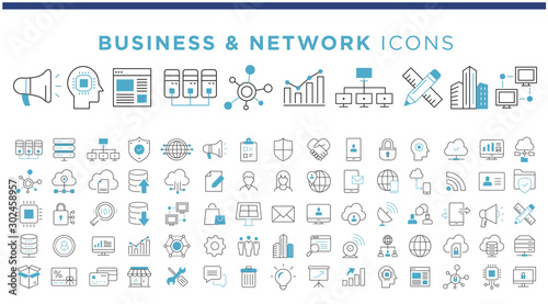 Cuadros en Lienzo business & network icons