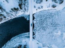 Aerial Top View Of Bridge Road...