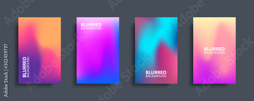 Fotografía  Blurred backgrounds set with modern abstract blurred color gradient patterns